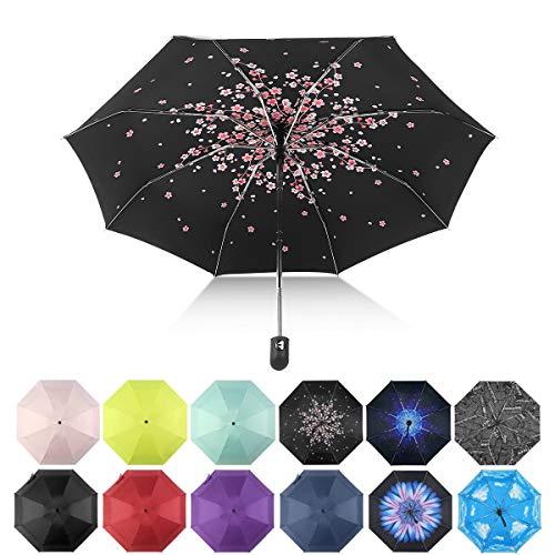 Automatic Travel Umbrella Compact Mini Umbrella Windproof Folding Umbrellas (Cherry blossoms)