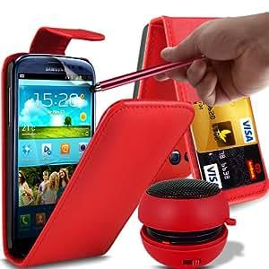 ONX3 4-IN-1 ESTUCHE DE LUJO - Samsung Galaxy S3 i9300 PREMIUM PU CREDIT CARD SLOT Red Leather Flip Case + Red 3.5MM portátil Mini altavoz de la cápsula + Red High capacitivo Stylus Pen + LCD Protector de pantalla