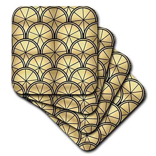 3dRose CST_212492_3 Art Deco Design Gold & Black Ceramic Tile Coasters, (Set of 4)