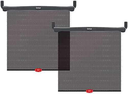 Munchkin Brica Sun Safety Car Window Shade with Heat Alert, Helps Block UVA/UVB Rays, 2 Pack, Black