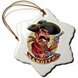 3dRose Carsten Reisinger - Illustrations - Cool Bandito Mexican Guy with Big Guns Smiling - 3 inch Snowflake Porcelain Ornament (orn_282679_1)