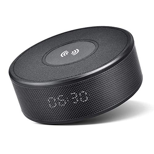Bluetooth Speaker with Qi Wireless Charger Alarm Clock FM Radio Microphone, Portable Bluetooth V4.2 Speaker for Hands-Free Calls, 5 Watts 8-Hour Playtime, Perfect Wireless Speaker for iPhone, Samsung