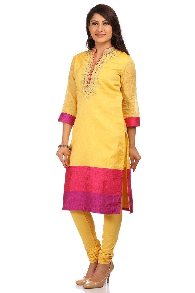 BIBA Women's Poly Cotton Straight Salwar Kameez Dupatta Suit Sets 36 Lime by Biba (Image #2)