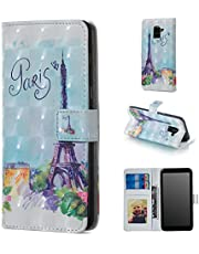 Glitter Wallet Case for Samsung Galaxy A8 2018 and Screen Protector,QFFUN Bling 3D Pattern Design [Tower] Magnetic Stand Leather Phone Case with Card Holder Drop Protection Etui Bumper Flip Cover