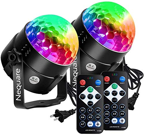 NEQUARE Party Lights Disco Ball Strobe Light Disco Lights 20 Colors Sound Activated Stage Light with Remote Control for Halloween, Kids, Festival Celebration Birthday Xmas Wedding Bar Club Party