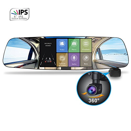 Spedal Mirror Dash Cam, 1080P HD 5.0 Inch Touch Screen, 360°Automatic Rotation, Rear View Dashboard Car Camera Recorder with Parking Monitor, Loop Recording, Motion Detection, G-Sensor, Night Vision