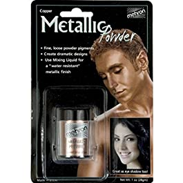 Mehron Makeup Metallic Powder (.17 oz) with Mixing Liquid (1 oz)
