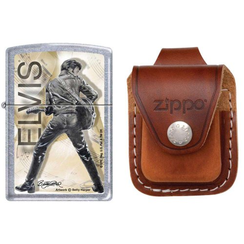 Zippo 0342 Classic Elvis Presley Street Chrome Finish Windproof Pocket Lighter with Zippo Brown Leather Loop Pouch (Brown Leather Presley)