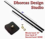 Dhorcas (#014) 3/16'' Threaded Motor and Long 12'' Hands, Quartz Clock Movement Kit for Replacement