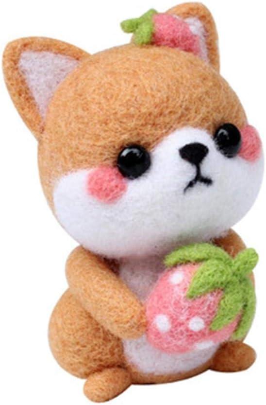 Puppy Wool Needlecraft Needlepoint Needle Felted Felting Cute Animal Kit Handmade Starter Manga Animation Animate Cartoon Character White