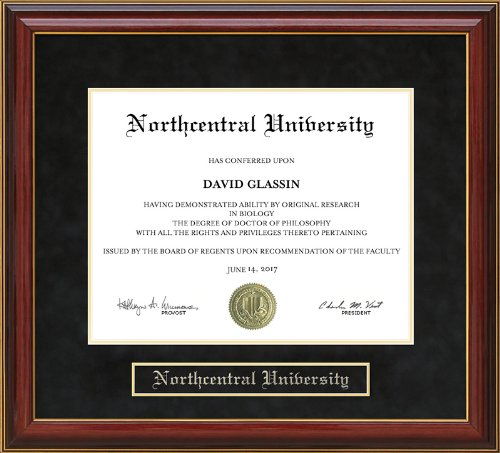 Northcentral University (NCU) Diploma Frame - Mahogany by Wordyisms