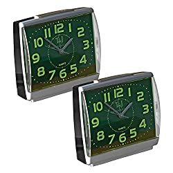 Glow in the Dark Alarm Clock Large Face Easy to Read Set of 2