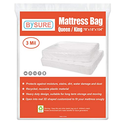 BYSURE 3 Mil 2-Pack Heavy Duty Mattress Bag for Moving & Long Term Storage, 3D Envelope Shape Fits Queen/King Size