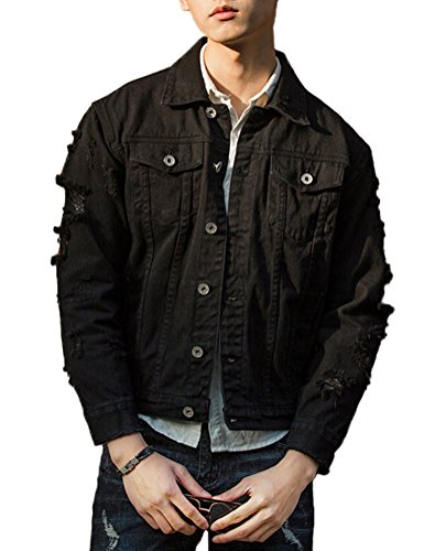 (DSDZ Men`s Retro Vintage Washed Ripped Hip Hop Motorcycle Denim Jacket Black M)