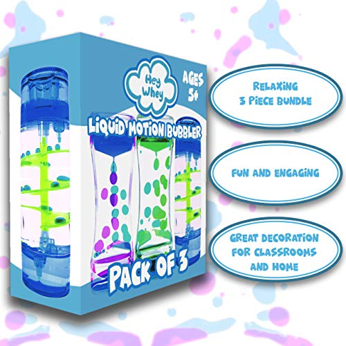 HeyWhey- Liquid Motion Bubbler Timer, 3-Pack Bundle Great for Gifts Parties Holidays, Calm and Relaxing Novelty Desk Toy, Sensory and Fidget Toys for Anxiety Autism ADHD Stress Relief Kids and Adults, by HeyWhey Toys (Image #1)