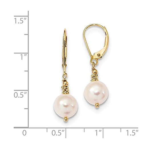 14ct 8-9mm Near Round White Freshwater Cultured Pearl Leverback Earrings zJfn5htPV