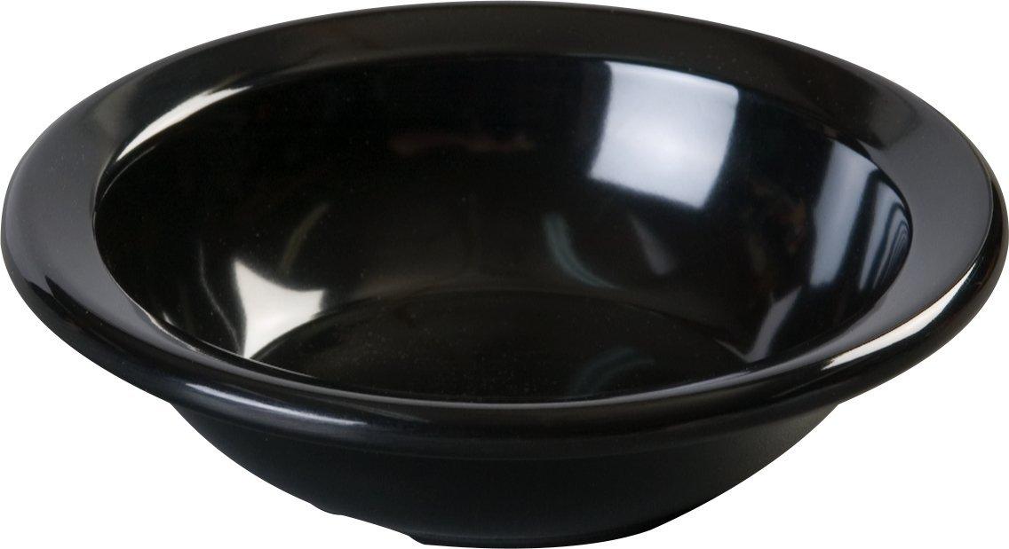 Carlisle KL80503 Kingline Melamine Rimmed Fruit Bowl, 4 fl. oz. Capacity, 4-19/32'' Dia. x 1.29'' H, Black (Case of 48)