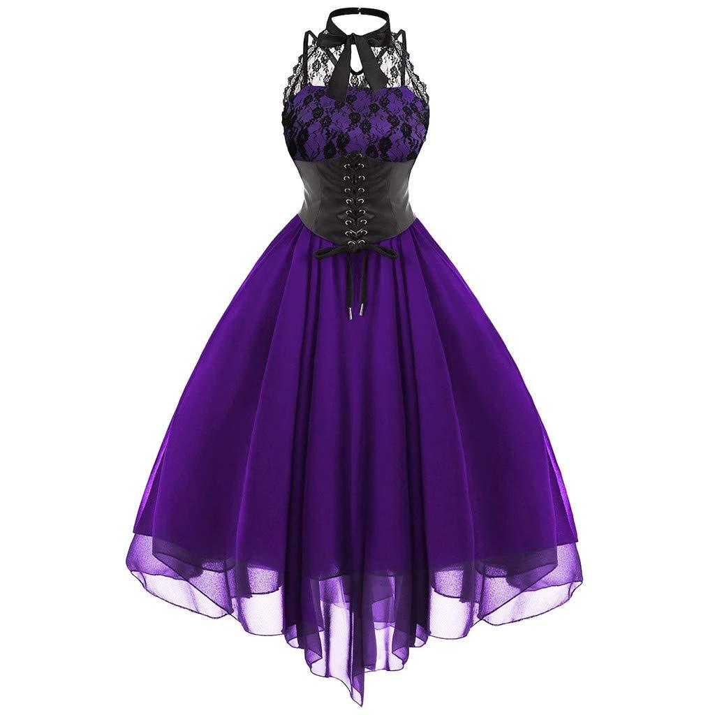 ERLOU Women's Sleeveless Vintage Sexy Lace Halloween Swing Dress Rockabilly Cocktail Party Mini Dresses (Purple, XXXL) by ERLOU Halloween