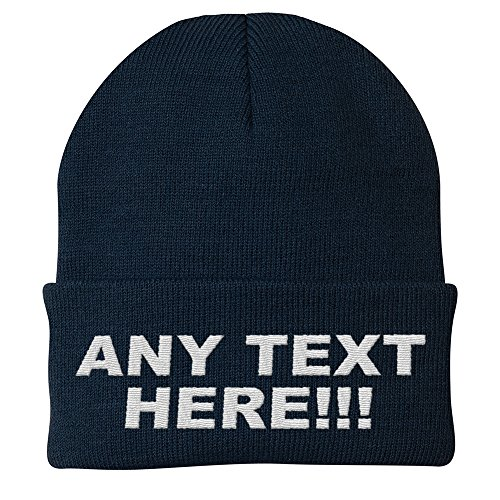 Custom Beanie Hats - Design Your Own Knit Cap, Custom Text, Personalized Beanie, Embroidered with Color Choices (Black)