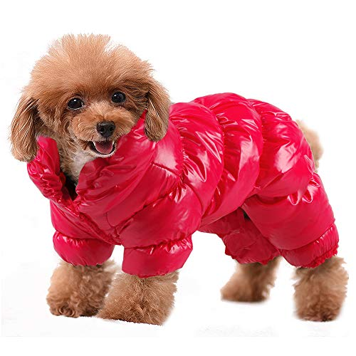 PET ARTIST Winter Puppy Dog Coats for Small Dogs,Cute Warm Fleece Padded Pet Clothes Apparel Clothing for Chihuahua Poodles French Bulldog Pomeranian Red Chest:16.5'' ()