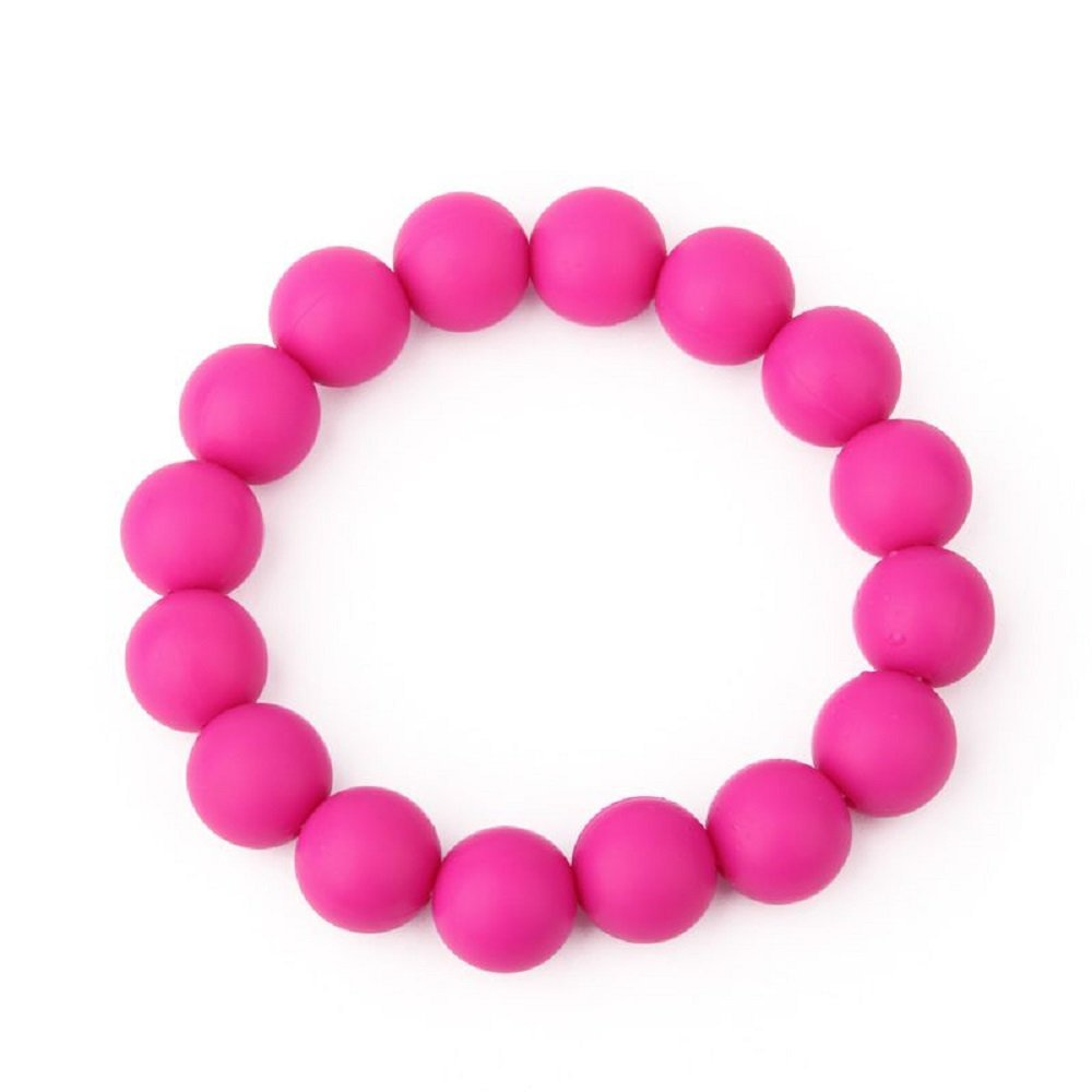 Gift Box Goodies Hot Pink Silicone Chew Biting Bracelet Baby Teething Teether Bangle Chewy Beads