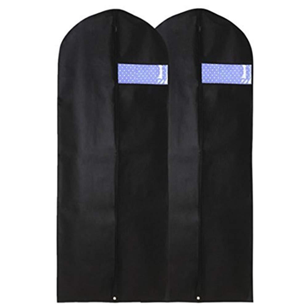 Poever 60 Lengthen Garment Bag, Dress Bag, Breathable Suit Bag with Handles and Eye Hook, Set of 2 Foldover Garment Cover Bag A1270