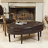 Westridge Brown Leather Oval Ottoman For Sale