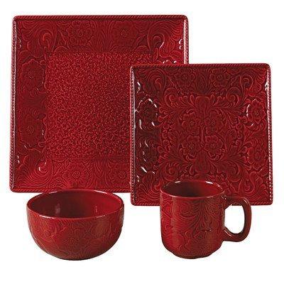 Savannah 16 Piece Dinnerware Set Color: Red