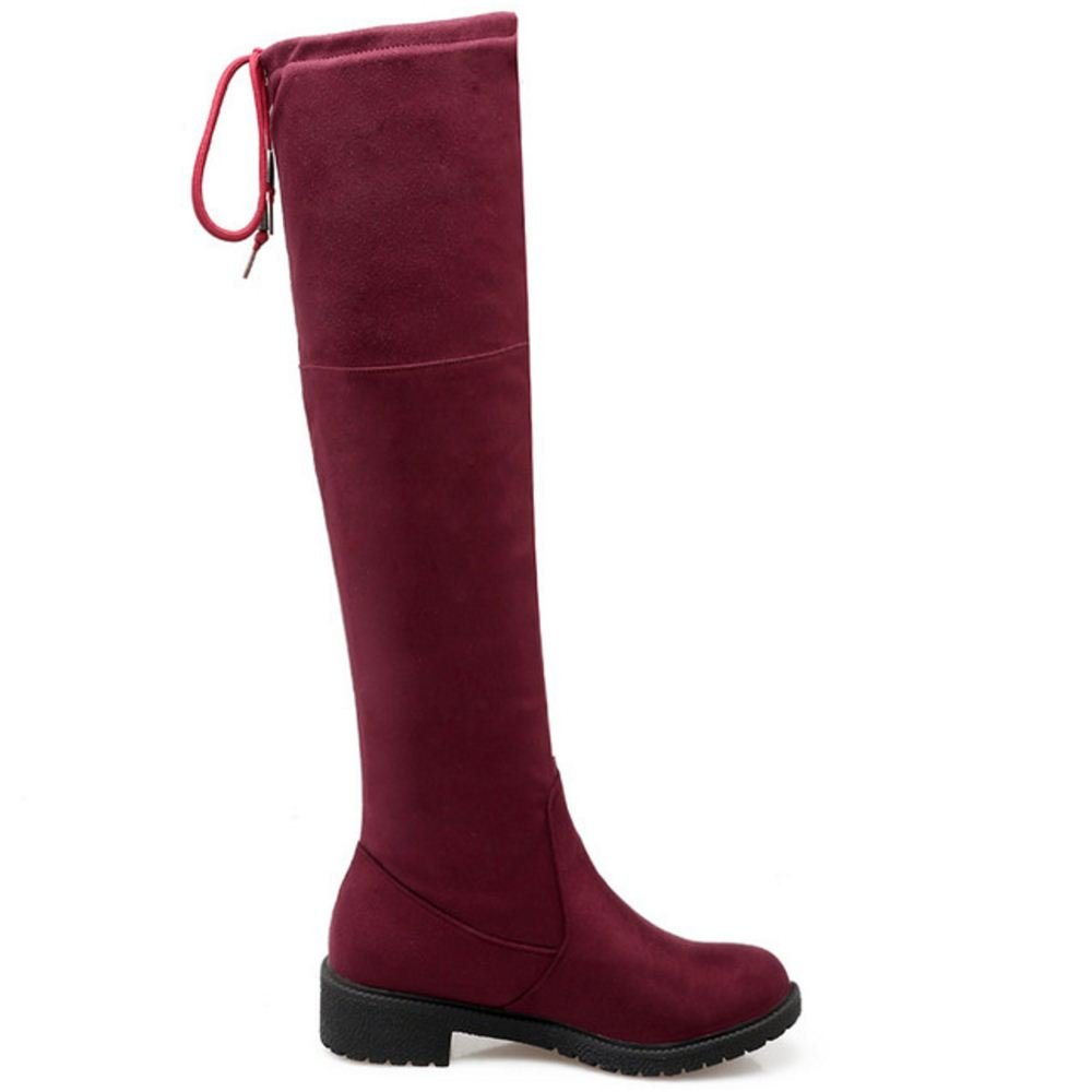 45 EU, Red KemeKiss Womens Casual Low Heel Soft Slip On Knee High Boots