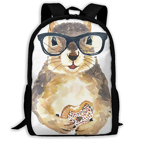 Nerdy Squirrel with Glass and Dessert.png Travel Hiking Lightweight Mens Womens Unisex Computer Gaming Laptop Backpack,Boys Girls School Book Bag