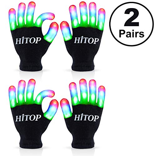 HITOP Light Up Gloves Kids, Led Gloves Finger Light Cool Toys Gift Stocking Stuffers for Boys Girls Age 5 6 7 8 9 10 Christmas Thanksgiving Birthday Glow Party Favor with Extra Batteries