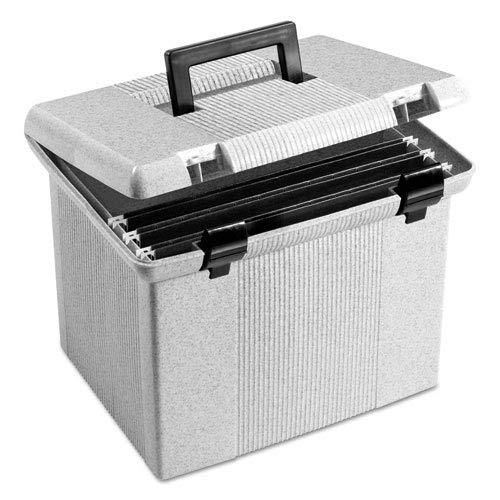 Portafile File Storage Box, Letter, Plastic, 13 7/8 x 14 x 11 1/8, Granite, Sold as 1 Each