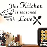 kitchen chef wall stickers - JIUZI Wall Sticker Quotes This Kitchen Is Seasoned With Love Cutlery And Chef Hat Wall Sticker Kitchen Removable Home Decor Wall Vinyl Decals Black 16.5