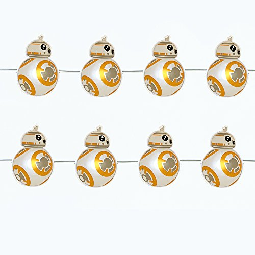 Kurt Adler's Star Wars BB-8 20-Light Battery-Operated LED Fairy Light Set Features 20 Mini-LED lights with BB-8 - 9 Feet Long (Uk Lights Christmas Battery Operated)