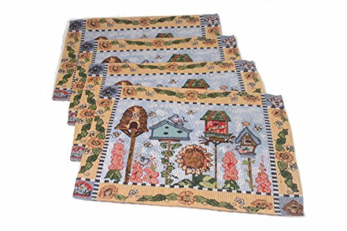 Generic Jacquard Design Decor Bird House Tapestry Cotton Placemat for Table,Dining,Kitchen(Pack of 4)