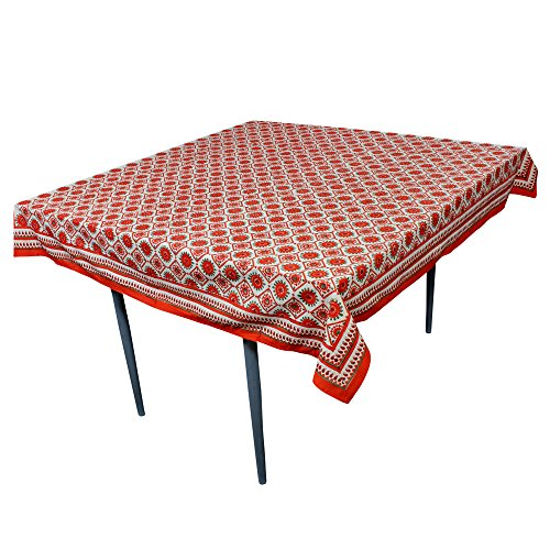 Orange Elegance Square Tablecloth (Good Friday Deals Orange Printed Square Tablecloth in Cotton Fabric Table Decoration 60 X 60 Inches)