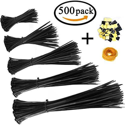 Honyear Zip Ties 500 Pcs Nylon Cable Zip Ties with Self-Locking 4/6/8/10/12 Inch, Black, UV Resistant, Heavy Duty