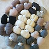 Maslin 17 Colors Wool Fibre Roving Sewing Wool for Needle Felting Wool Crafts Doll Set 5g 10g 20g 50g 100g - (Color: 100g 1700G)