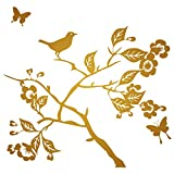 Branch with Leaves Flowers Birds & Butterflies Wall Decal, Color Bronze (metallic), Large