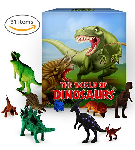 Dinosaur Toys Set, 31-Pieces. Educational Dinosaur Toys Pack, Toy Figures with T-Rex, Velociraptor, Triceratops, Stegosaurus, Prehistoric Fauna + Mountain. Great Child Learning Toy by MyFirstDino