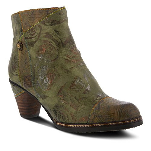 L`Artiste by Spring Step Women's Leather Booties Waterlily Green Multi EU Size 40