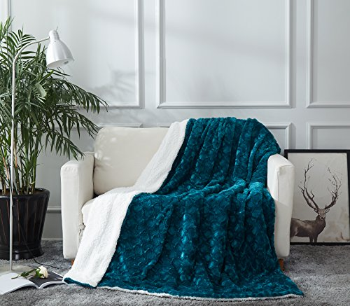 DaDa Bedding Lavish Throw Blanket - Father's Day Ruched Mermaid Scales Faux Fur Sherpa - Soft Warm Plush Fleece Textured - Bright Vibrant Embossed Green Blue Teal & White for Bed or Couch - 50