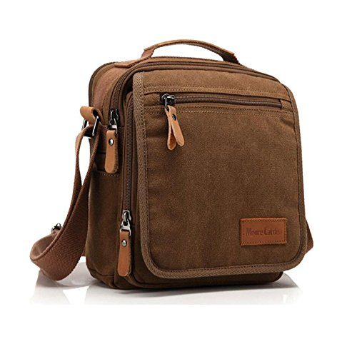Moore Carden Vintage Canvas Messenger Bag Shoulder Bag For Men Small Travel Crossbody Bag Ipad Bag Work Bag Business Tote Bag Satchel Bag Coffee
