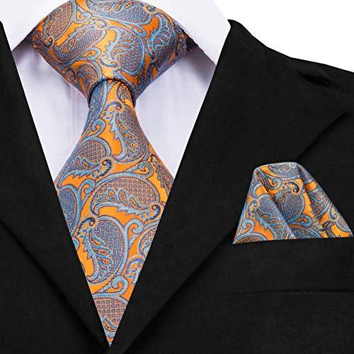 AK Corbata de corbata de seda amarilla para hombre, corbata de ...