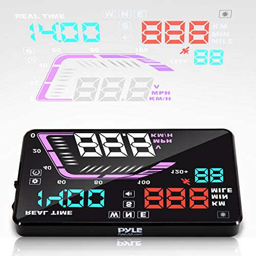Heads Up Display HUD Screen – Universal 5.5'' Car Head-Up Windshield Display w/Multi-Color Screen Projector Vehicle Speed, GPS Navigation Compass, Plug Play w/Speed, Time, Altitude, Etc – Pyle