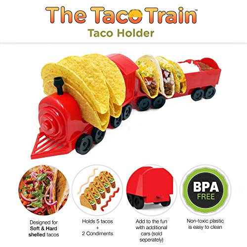 Taco Train Taco Party Holder Stand - Holds 5 Tacos and Salsa - The Ultimate Gift for Kids and Adults for Fun Taco Tuesdays - Perfect for Taco Twosday Kids Birthday Party - By Fyve Global by Fyve Global (Image #1)