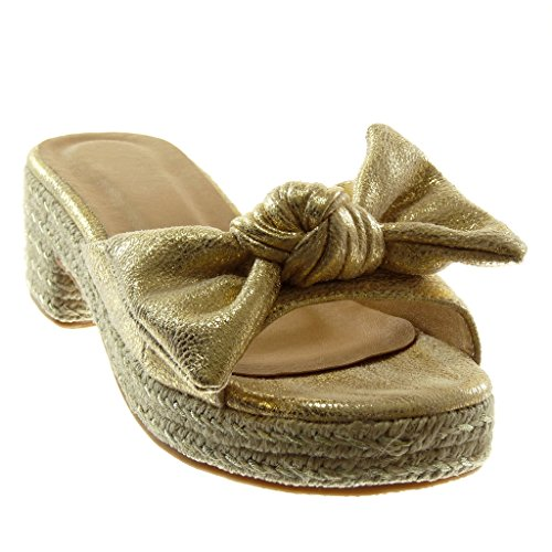 Slip Shoes cm Shiny 5 High on Block Mules Heel Node Knot Fashion Sandals Angkorly 5 Cord Platform Gold Women's EPTXqX