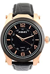 Men's Big Oversized Face Black Dial Rose Gold Bezel Leather Band Analog Quartz Movement Wrist Watch