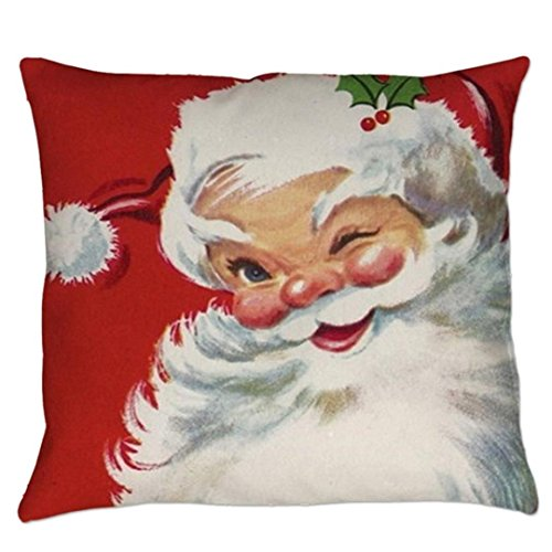 GBSELL Pillow Cover Vintage Christmas Santa Clau Square Cush