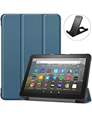 Jorisa Tablet Case for Amazon Fire HD8 2020/HD8 Plus 2020,Ultra Thin Lightweight Leather Trifold Stand Cover Flip Magnetic Smart Case with Auto Wake/Sleep and Free Cellphone Stand,Dark Green